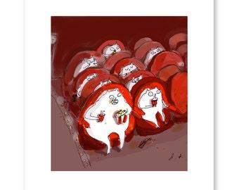 Movie Cats - Funny Cat Art - The Oscars - Movie Poster - Movie Art Print
