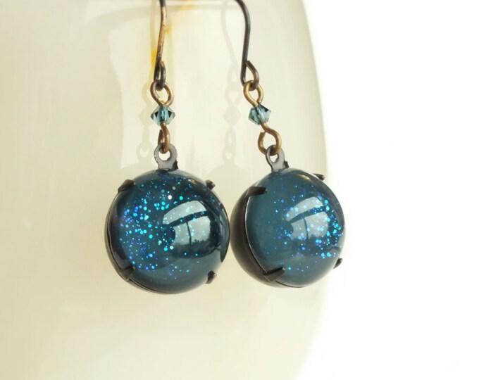 Small Glitter Dangle Earrings Dark Blue Glitter Vintage Glass Globes Nail Polish Jewelry Black Indigo Jewelry