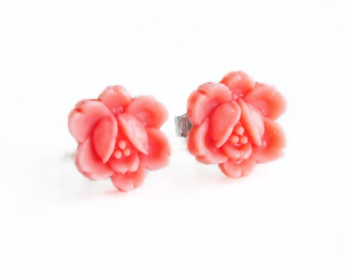 Coral Pink Rose Studs Small Pink Vintage Carved Flower Post Earrings Hypoallergenic Pink Rose Jewelry Cute Womens Gift Jewellery