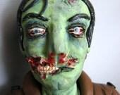 Frank - Handmade OOAK Polymer Clay Zombie Sculpture