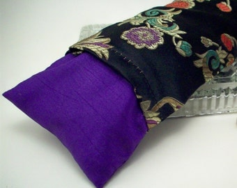 Flax Seed Eye Pillow with Lavender or Unscented - Jewel Toned Flowers on Black Brocade - Yoga Aromatherapy Eye Mask with Washable Cover