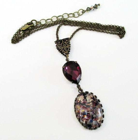 opal necklace purple glass opal necklace amethyst