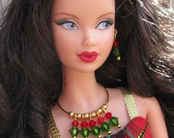 Christmas Colors Beaded Necklace Fashion Doll Jewelry Set fits 11 1/2-12 inch & 1/6th Scale Female Dolls