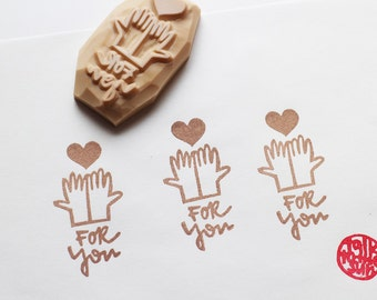 for you stamp. hands with love heart hand carved rubber stamp. birthday christmas valentine gift wrapping. scrapbooking. holiday crafts