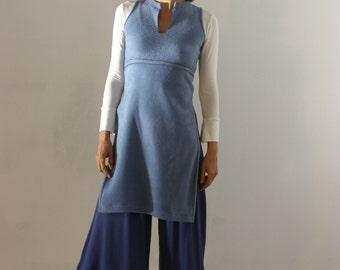 Denim Fleece TUNIC-Women's cozy sweater-Empire cut Asian tunic with side slits-Womens clothing
