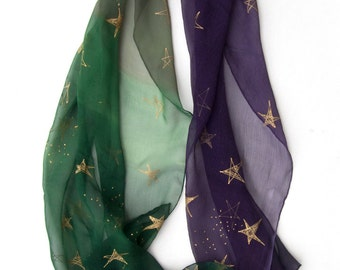 Night Stars silk scarf. Hand painted scarf/ Silk chiffon scarf with golden stars. Summer scarf. Green purple shawl/ Mother's Day gift OOAK