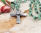 Small silver cross aventurine necklace beaded cross necklace natural gemstone cross pendant silver cross necklace handmade gifts for her
