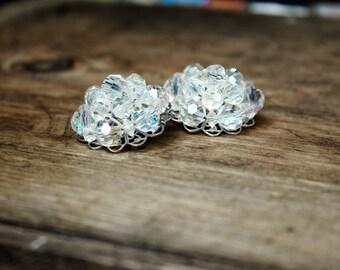 Vintage Midcentury 50s Aurora Borealis Ice Crystals Clip On Earrings