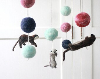 Otter Mobile, Baby Mobile, Animal Mobile, Unique Nursery, Rose, Mint, Navy