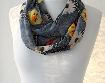 NEW Floral Print Beige Infinity Scarf - Loop Scarf - Circle Scarf - Cowl Scarf - Soft and Lightweight