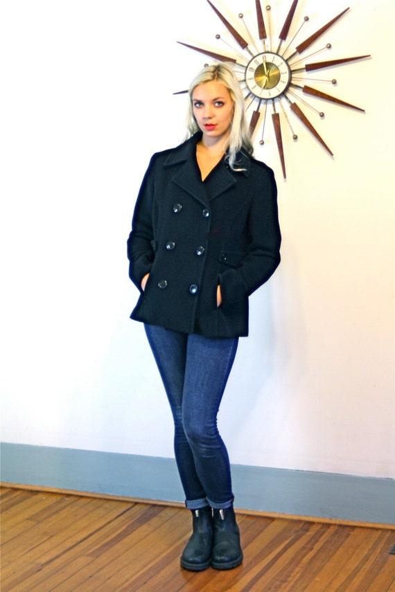 Vintage 80s Black Wool Pea Coat Cashmere Blend Short Double Breasted Cropped Ladies Petite Women Classic Preppy Nautical 1980s Sailor Jacket