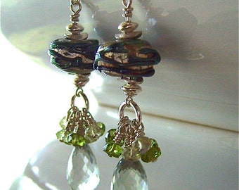 Artisan Hand Lampworked Glass Bead Earrings with Green Amethyst Briolettes on Sterling Silver - Ready For Summer