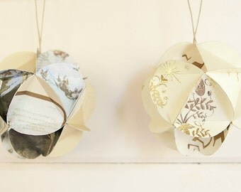 Geometric Upcycled Paper Greeting Card Ornaments-Set of 12 in your choice of colors