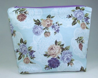 POUCH - Classic Roses and Doilies **handmade**
