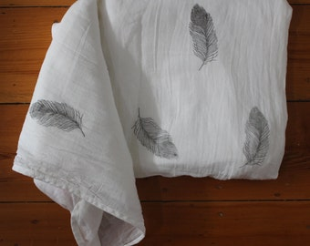 Feather Hand Stamped on Large 100% Organic Muslin Cotton. Baby Swaddle. Baby Blanket.Baby Wrap. Unique Baby Blanket. Feather Muslin Swaddle