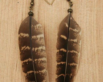 Rustic Brown Pheasant Feather Earring