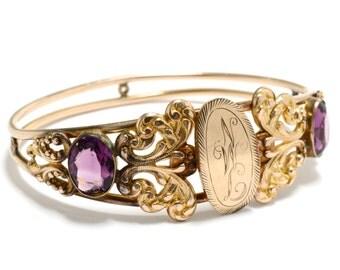 Victorian Amethyst Glass Bracelet