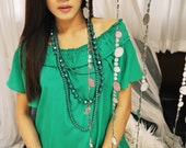 Green Ruched Blouse Short Sleeve Wide Neck Tank Top Petite Loose Boho Bohemian Summer Fashion Etsy Gift