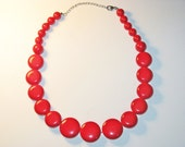 Vintage Long Red Lucite Necklace (N-2-4)