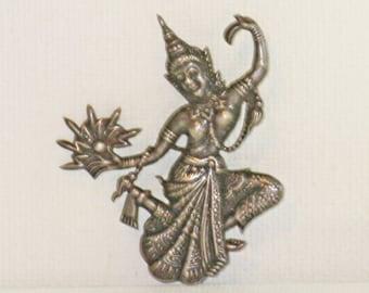 Antique Vintage Early Siam Sterling Silver Mekkala Goddess of Lightning Brooch Pin (B-3-3)