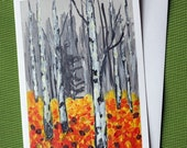 Birch Autumn II - Hand Painted Landscape Greeting Card