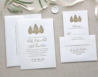 Letterpress Wedding Invitation - Aspen Design - Calligraphy,Traditional, Elegant, Simple, Classic, Script, Custom, Formal, Winter, Tree