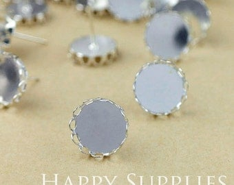 10pcs 12mm Nickel Free Silver Earposts With Round Lace Pad (BG358-S)