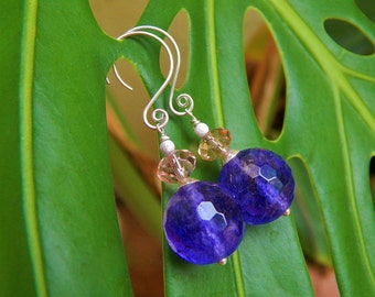 Whole Lotta Love Earrings - Big Beautiful Violet-Blue Quartz Beads, Pale Pink Crystals & Stylish Handmade Sterling Silver Ear Wires