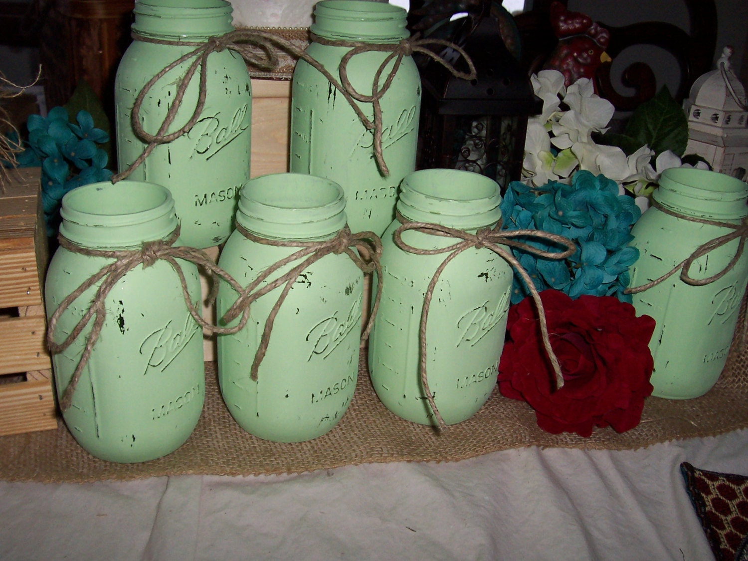 Mint Green Decor Flower Vases Painted Mason Jar Mint