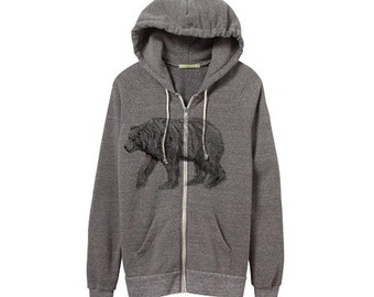 Bear Hoodie - California Bear - Heather Grey Zip Hoodie - Small, Medium, Large, XL - Eco Friendly Clothing, Bears, Illustrated Bear