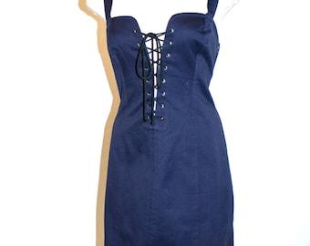 YVES SAINT LAURENT Vintage Rive Gauche Dress Navy Safari Lace Up Tunic - Authentic -
