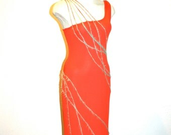 GIANNI VERSACE COUTURE Vintage Red & Gold Dress Assymetrical One Shoulder Wiggle - Authentic -