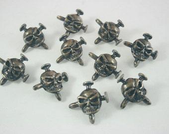 20 pcs. Zinc Antique Brass Skull Rivet Stud Conchos Leathercraft Decoration 23 mm. SK BR 23 3 RV K