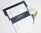 Navy Wedding Invitation, Navy, Navy Blue, Unique, Mongoram, Regal, Wedding Invites - Antique Monogram Wedding Invitations - Deposit