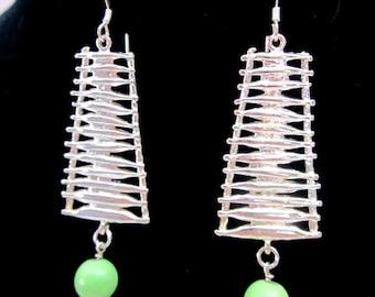 Silver & Lime Earrings -- Beaded Ladder Earrings -- Lime Green Bead Earrings -- Ladder Earrings