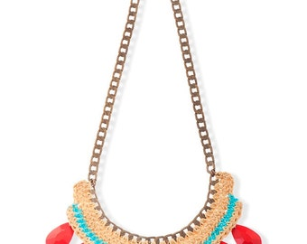 Red statement Necklace, Handmade Crochet Bohemian Ethnic bib Necklace