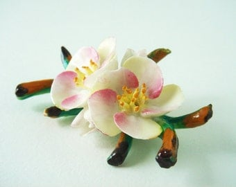 Vintage Cara China Brooch - Bone China Brooch - Staffordshire Made in England - Floral Brooch - Apple Blossoms - Porcelain Flower Pin