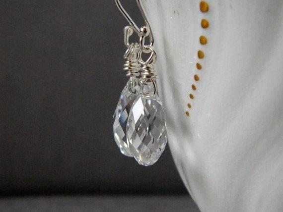 Clear Crystal Teardrop Earrings Clear Earrings Briolette Earrings Swarovski Crystal Earrings Sterling Silver Wire Wrap Bridal Gift Wife