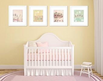 Girl nursery wall art, carnival pictures, set of 4 prints, nursery prints girl, pastel art, Ferris wheel print, pictures for girls room,