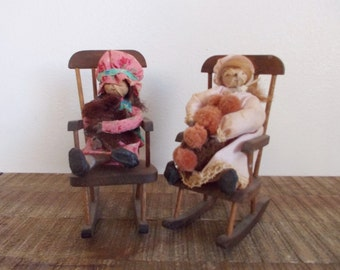Pair of vintage Folk Art Seed Pod Dolls in Handcrafted Wooden Rocking Chairs