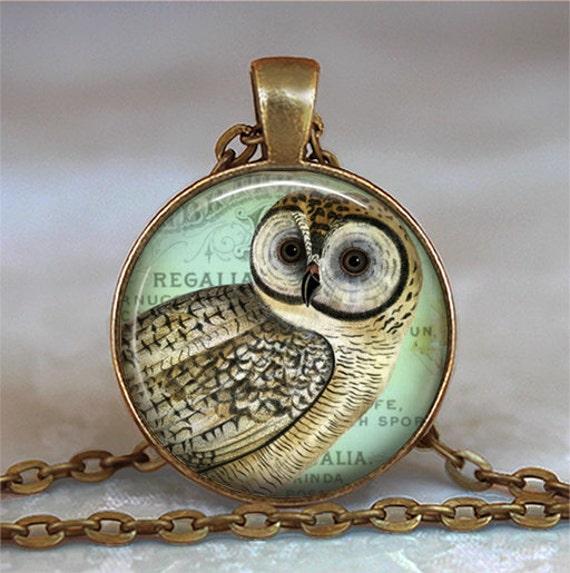 Vintage Owl pendant, owl necklace, owl jewelry pendant, owl keychain, owl key chain, owl key fob vintage owl jewellery, resin jewelry
