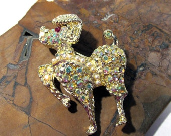 Poodle Pin VINTAGE Aurora Borealis Rhinestone Pearls Gold Poodle Pin Ready to Wear AB Rhinestone Poodle Pin Vintage Jewelry (F28)
