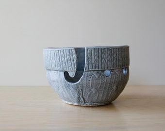 Yarn Bowl | faux cable knit sweater texture | functional ceramic bowl for storage organizing yarn | knitting or crochet gift | made to order