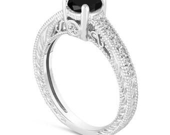 Black Diamond Engagement Ring 14K White Gold Vintage Antique Style Engraved 0.70 Carat Certified HandMade