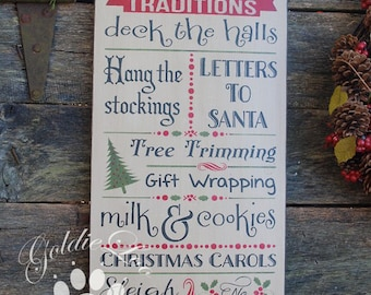 Christmas Traditions, Primitive Wood Wall Sign, Subway Art,Typography,