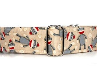 2 inch Martingale, Silly Sock Monkeys, Sock Monkey Martingale Dog Collar