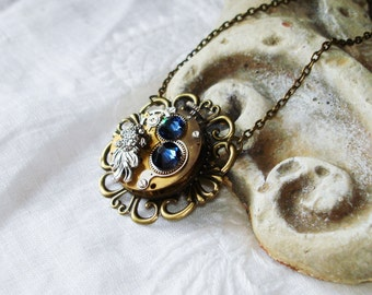 Necklace Watch Movement Montana Sapphire Blue Swarovski Crystals Silver Koi Fish   C 1-12