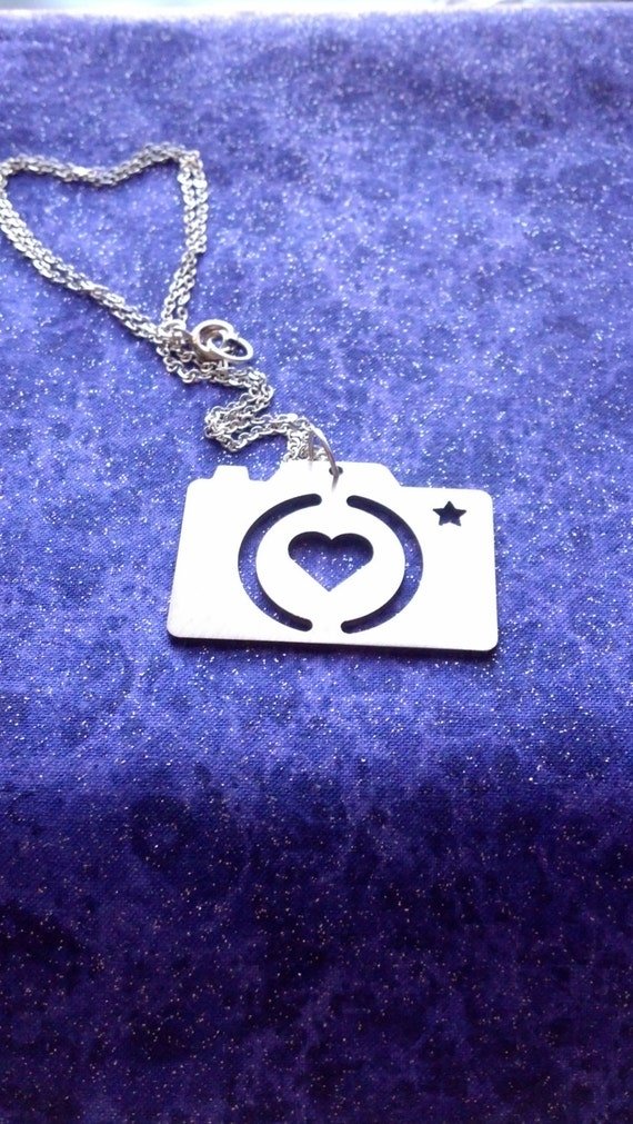 I Heart Photography Camera - Necklace Pendant or Keychain - Straight Hung