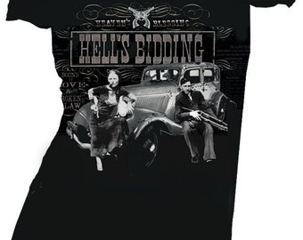 "Womens ""Hell's Bidding"" Bonnie and Clyde off shoulder Tee"