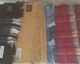 Vintage Acrylic Scarf Lot of 4 Fringed Scarves Plaid Black Blue Tan Red Winter **SALE** West Germany France